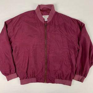 Silk Men's Vintage Burgandy Jacket. Size Medium.